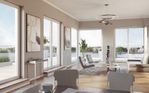 Wohnen 2020: Große Fenster bieten den Blick auf die Dahme und sorgen für ein natürliches Wohnflair