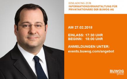 Einladung zur Informationsveranstaltung für Privataktionäre der BUWOG AG am 27.02.2018 in Wien