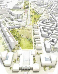 Leipzig: Auf über 8 Hektar ist ein großer, grüner Stadtteilpark südlich des Portikus geplant.
