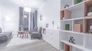 Beispiel-Wohnzimmer in BUWOG NEUMARIEN. Credit: BUWOG