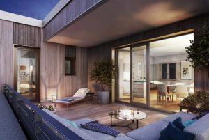 Große Außenbereiche, Balkone, Terrassen udn ein naturnahes Umfeld gehören zum Konzept der BUWOG LOTSENHÄUSER