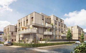Nachhaltiges projekt: BUWOG LOTSENHÄUSER - gebaut aus Holz. Visualisierung: BUWOG Bauträger GmbH